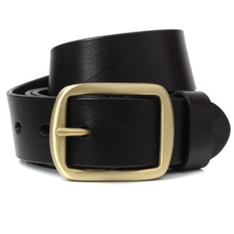 Harga Imported Top Grain Cow Leather Belt Antique Belt Retro Casual Belt with Copper Buckle Black 120cm