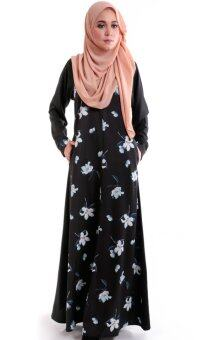 Harga JF Fashion Laylaa Jubah With Flower Printed E1603 (Black)