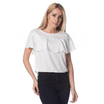 Harga Nichii O-Neck Ruffle Layered Short Sleeve Top (White)