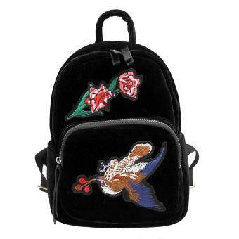 Harga MG Vintage Style Faux Velvet Crane Bird Flower Embroidery Backpacks Bag (Black)