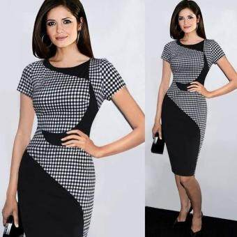 Harga MG O-Neck Patchwork Plaid Slim Fit Work Office Pencil Bodycon Dress (Black)