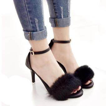 Harga New Women Pom Pom Faux Fur Ankle Strap Stiletto High Heel Party Dress Sandals BLACK
