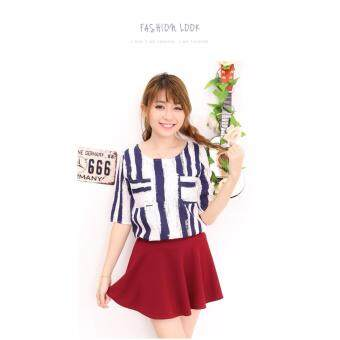 Harga LuvClo Fancy Vertical Stripes Pockets Top (Dark Blue)