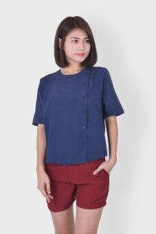 Harga f block Buttoned Front Blouse (Dark Blue)