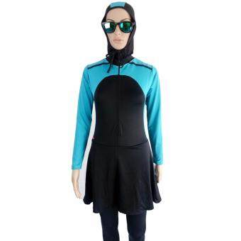 Harga New 3 Piece Women Muslimah Swimming Swimsuit Swim Wear Suit Swimwear Baju Renang BLUE BLACK Size XXL
