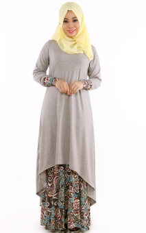 Harga JF Fashion Cotton Fishtail with Paisley Skirt J6782 (Grey)