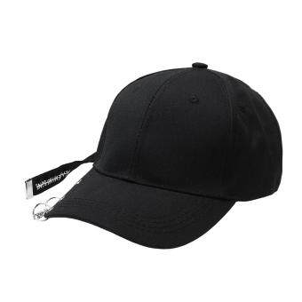 Harga Fashion Unisex European Hip-hop Iron Circle Baseball Cap(Black)