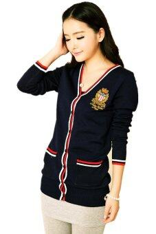 Harga British College Badge Cardigan Sweater Black