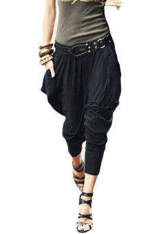 Harga Women's Casual Hip Hop Harem Pants Trousers (Black)