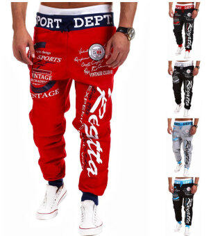 Harga Men's Fashion Casual Letters Printed Patch Pocket Sports Bundle Foot Cotton Sweat Absorbent Pants Trousers Joggers(Color:Red1)