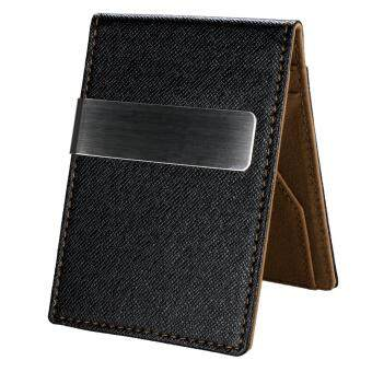 Harga MG New Fashion Korean Style High Quality Men Mini Money Wallet With Clip (Coffee)