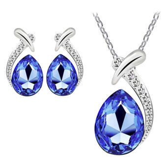 Harga SoKaNo Trendz N97 Australian Crystal Necklace and Earrings set Blue