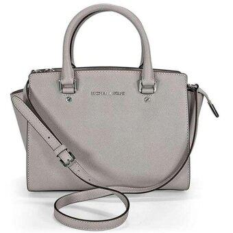 Harga Michael Kors Selma Medium Saffiano Leather Satchel - PEARL GREY