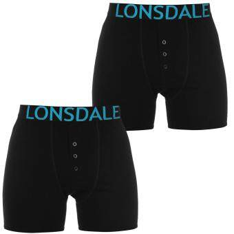 Harga Lonsdale Men Elasticated Waistband Underpants Boxers Shorts Bottoms 2 Pack Blac
