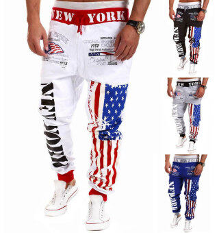 Harga Men's Fashion Casual Letters Printed Patch Pocket Sports Bundle Foot Cotton Sweat Absorbent Pants Trousers Joggers(Color:White13)