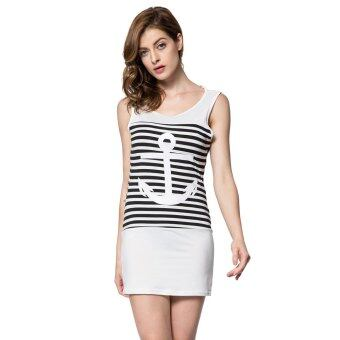 Harga Casual Scoop Collar Sleeveless Striped Anchor Pattern Women's Dress