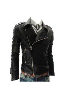 Harga Men's British Faux Leather Biker Jacket (Black)
