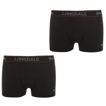 Harga Lonsdale Men Elasticated Waistband Underwear Trunks Pants Shorts 2 Pack Black