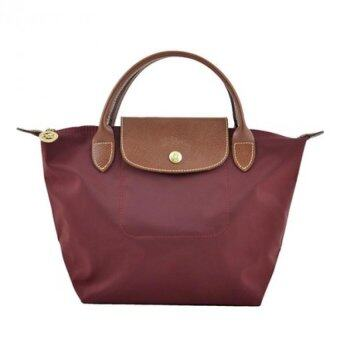 Harga Longchamp Le Pliage Small Handbag With Short Handle - Maroon
