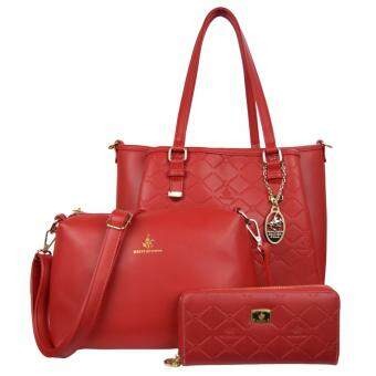Harga 100% Original British Polo Classic Emboss Ladies Handbag Value Set Red (PL61127-03)