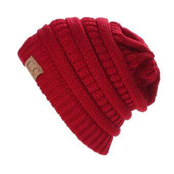 Harga Winter Bubbe Knit Baggy Beanie Overize Hat ki ouchy Cap (Red)