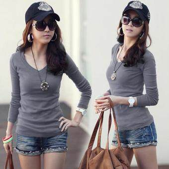 Harga MG Basic V-Neck Fitted Solid Top Plain T-Shirt Junior Top Blouse (Grey)