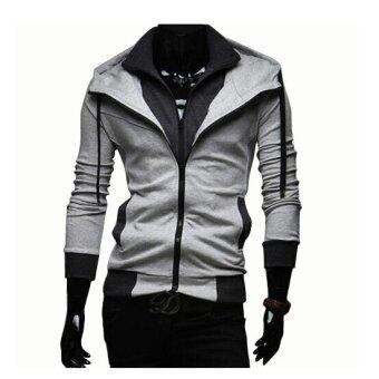 Harga Men's fashion casual Slim hit the color hooded Sweatshirts coat Jogging Sportswear - Intl