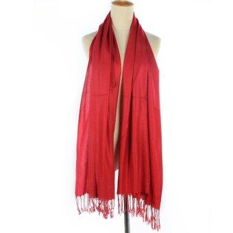 Harga Women Long Candy Pure Colors Scarf Wraps Shawl Stole Soft Dacron (Red)