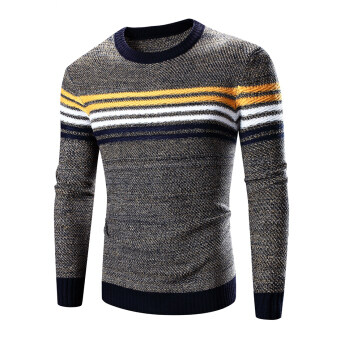 Harga Men 's fashion hit color thicker warm round neck sweater Navy