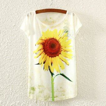 Harga Fancy Sunflower Print Drop Shoulder Tee (White)