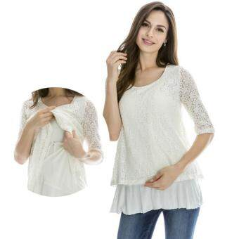Harga MamaLove 3/4 Sleeve Lace Pregnancy Breastfeeding Maternity Clothes Maternity Tops Nursing clothing For Pregnant Women(White)Fit (M~XL)