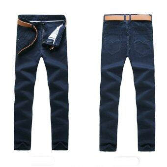 Harga good quality Man Trousers New Pattern Solid Color Pure Cotton straight men casual stem-pipe long pants(navy blue)