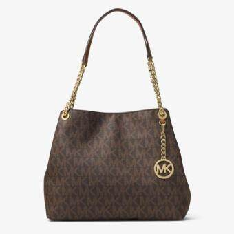 Harga Michael Kors Jet Set Large Logo Shoulder Bag (Brown)