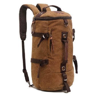 Harga AUGUR 1028 3Way Canvas Leather Travel Backpack (Coffee)