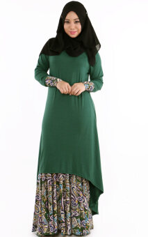 Harga JF Fashion Cotton Fishtail with Paisley Skirt J6782 (Green)
