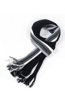 Harga Toprank Men Scarves Wool Scarf Winter Wrap Long Pashmina Shawl Men'S Shawl Warm Stripe Man Business Scarf ( Black )