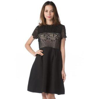 Harga Nichii Joint Floral Lace SK Knee Length Dress (Black)