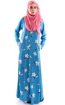 Harga JF Fashion Laylaa Jubah With Flower Printed E1603 (Blue)