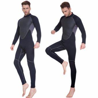 Harga Ocean Men outdoor 3 mm Half dry Diving suit male neoprene Rubber conjoined Diving suit (Black)