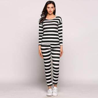 Harga MG Casual Women Striped Long Sleeve Top and Elastic Waist Long Pants Pajamas Set (Black)