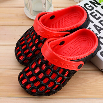 Indoor home slip Plus-sized couple's slippers home slippers (Black and red) (Black and red)