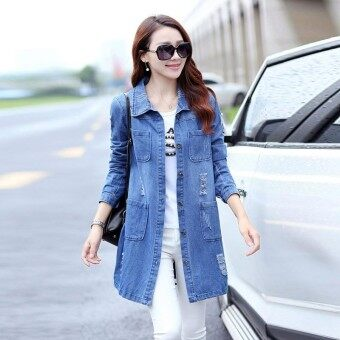 Ishowmall Autumn Women Casual Oversize Long Sleeve Denim Long Cardigan  Overcoat Outerwear f0dff3270d