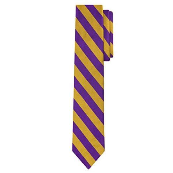 Jacob Alexander Stripe Print Mens Slim 2.75 College Striped Tie - Purple Gold - intl