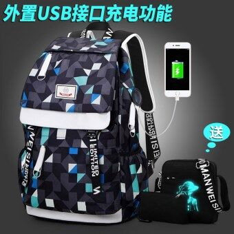 Japan and South Korea canvas printed Junior High School men's bag backpack (Charging edition plaid printed with shoulder purse)