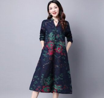 Harga Japanese Classic Linen Dress Collection - BLUE
