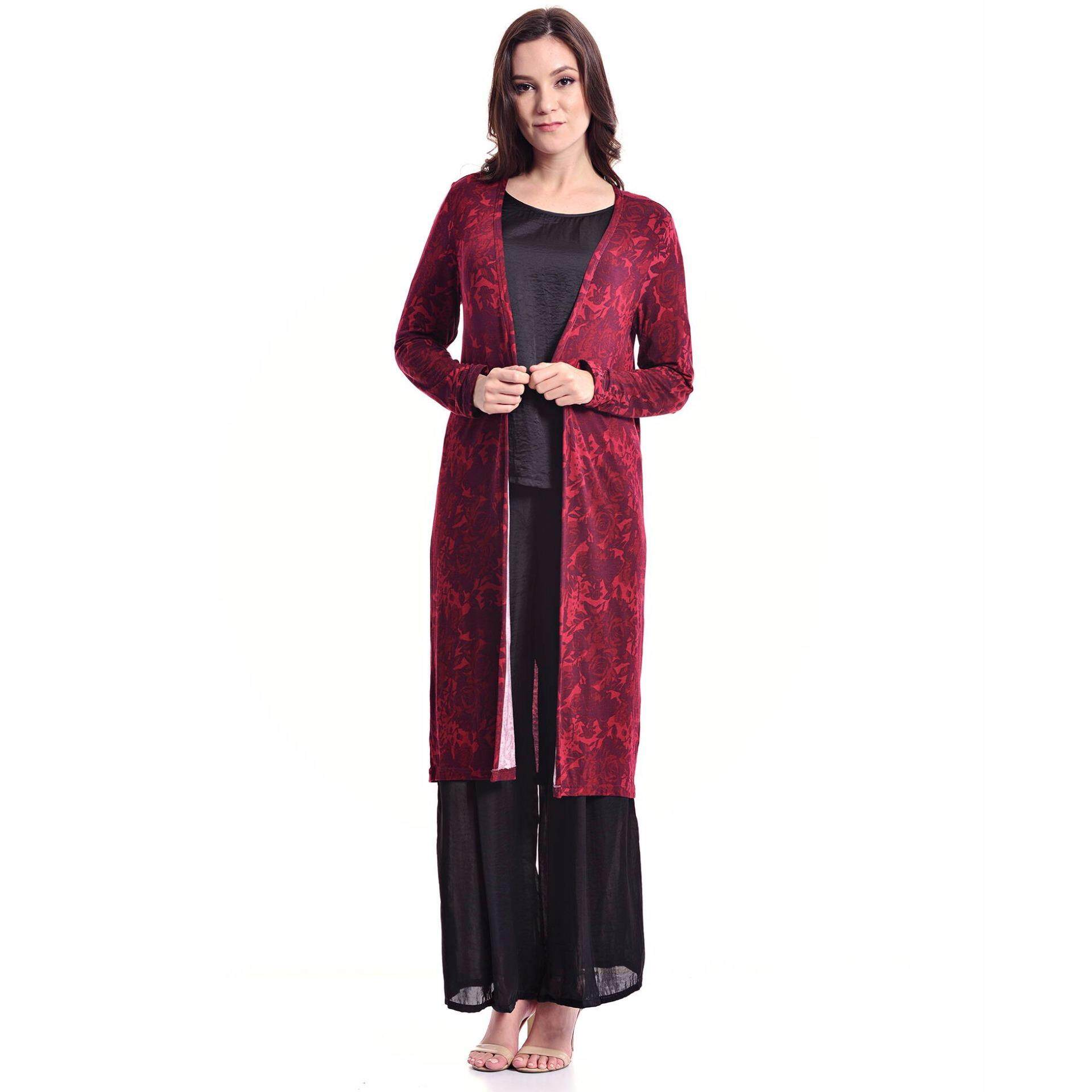 Jazz & Co Floral Long Cardigan ( Dk Maroon)