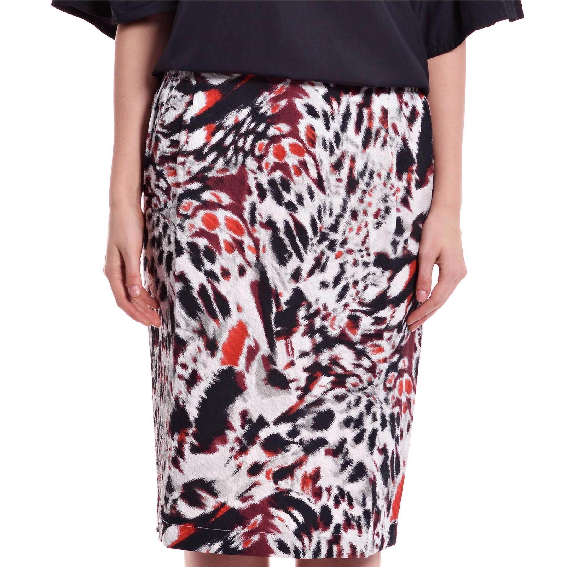 Jazz & Co Women Plus Printed Midi Skirt ( Maroon)