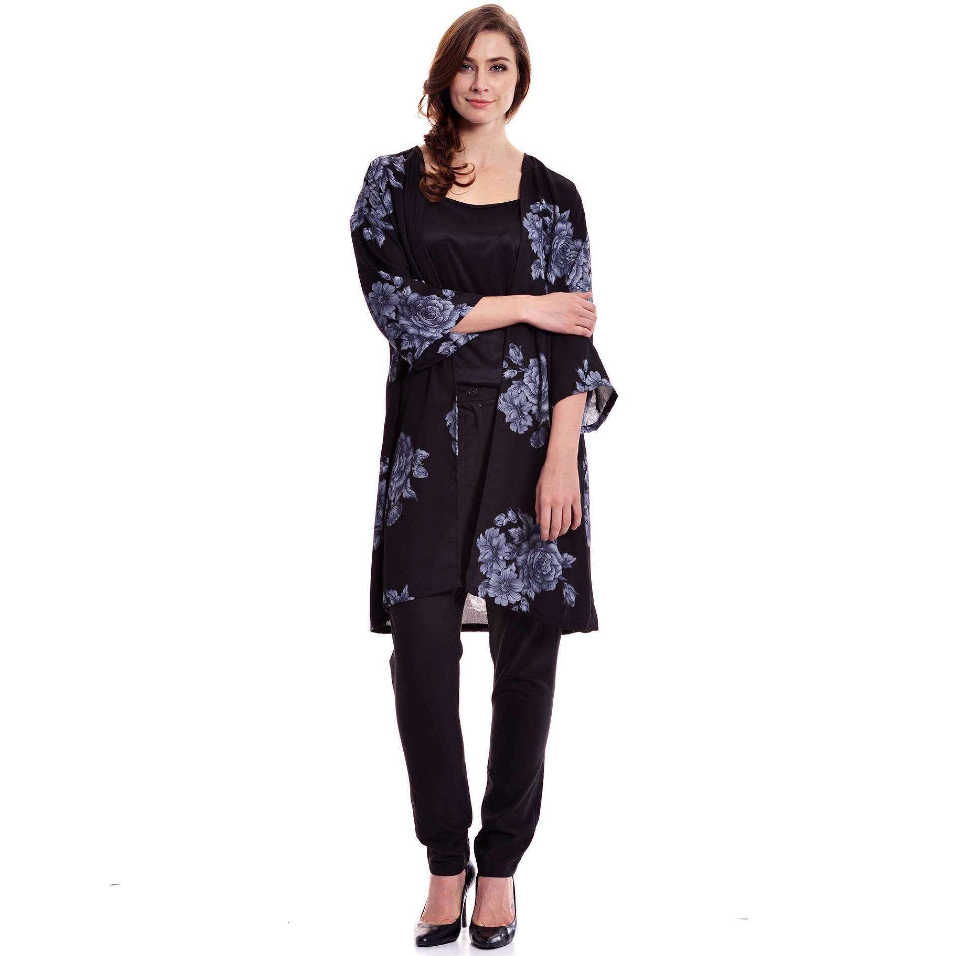Jazz & Co Women Plus Floral Long Cardigan (Black)