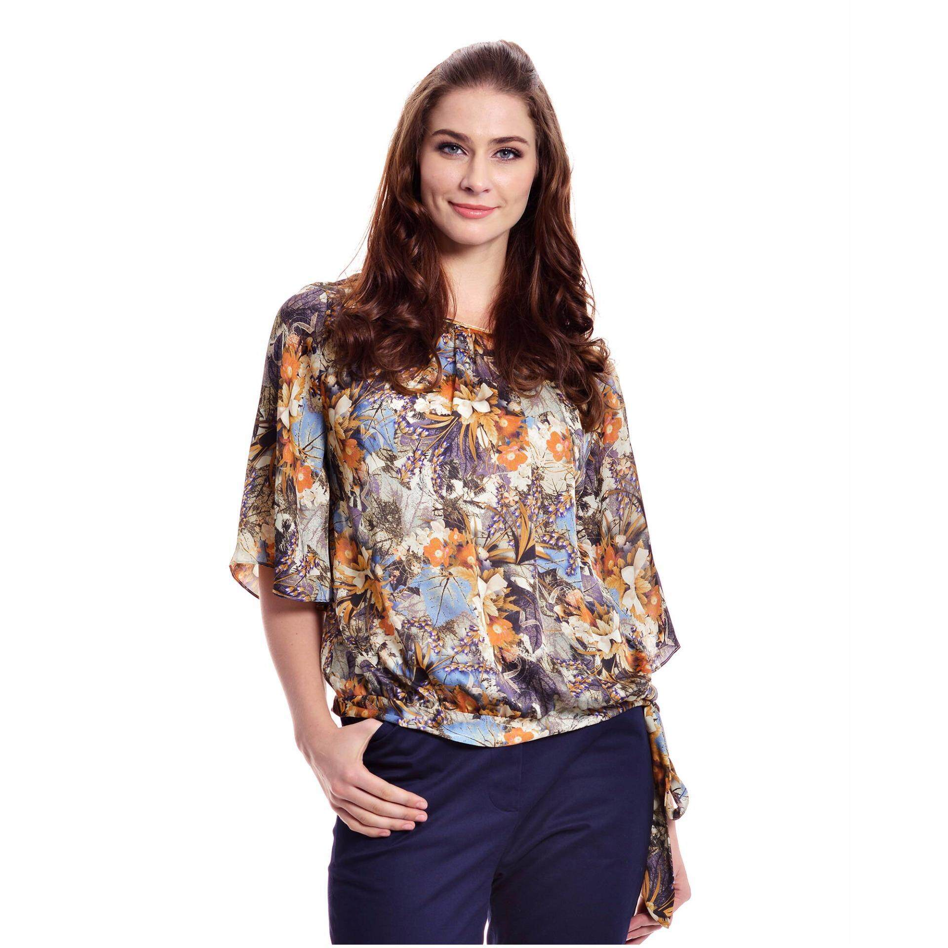 Jazz & Co Women Plus Floral Wide Sleeve Tie knot Top ( Yellow)
