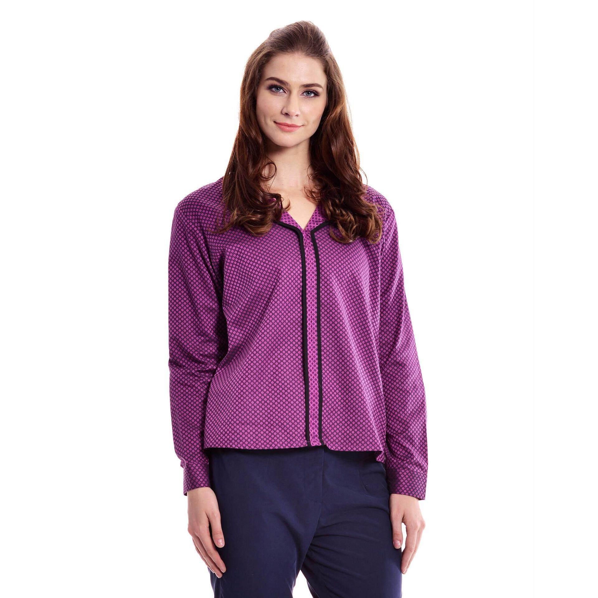 Jazz & Co Women Plus  Long Sleeve Jacquard Blouse ( Purple)